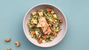 Zlim afvallen recept - Courgetti met zalm en geitenkaas