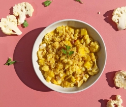 Bloemkoolcurry met ananas en kabeljauw